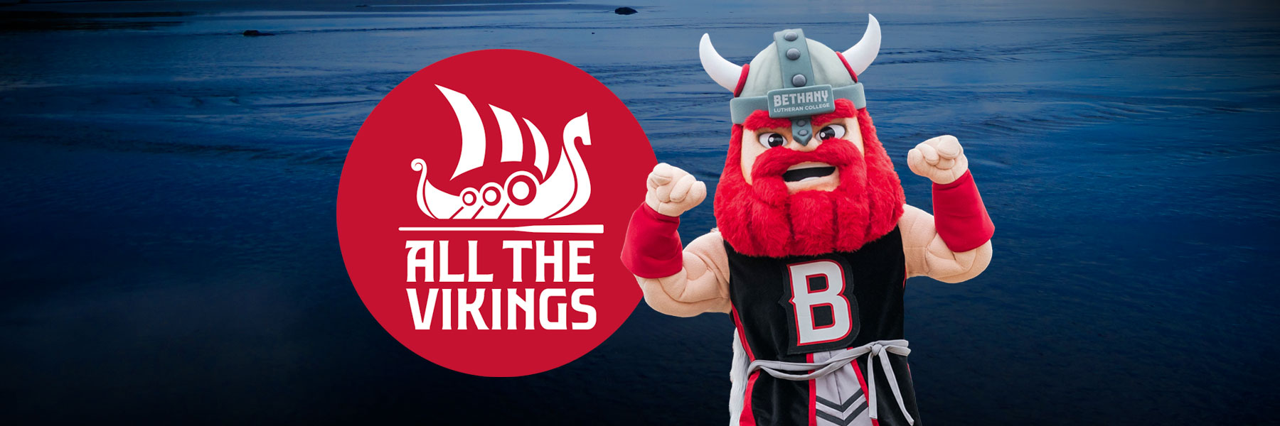 All the vikings logo on red with halvar the viking mascot of bethany lutheran college