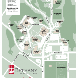 General map of the Bethany Lutheran College campus