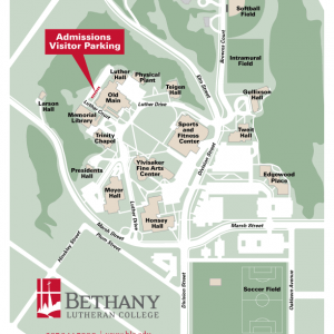 Special Campus Map showing special parking for admissions visitors