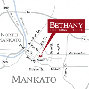 Map showing Bethany Lutheran College's location in Mankato, MN