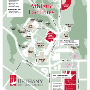 Map of campus showing athletic facilities designated parking locations for buses and other large vehicles
